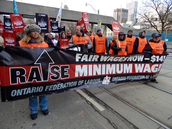 Ontario Federation of Labour rally to raise minimum wage to $14